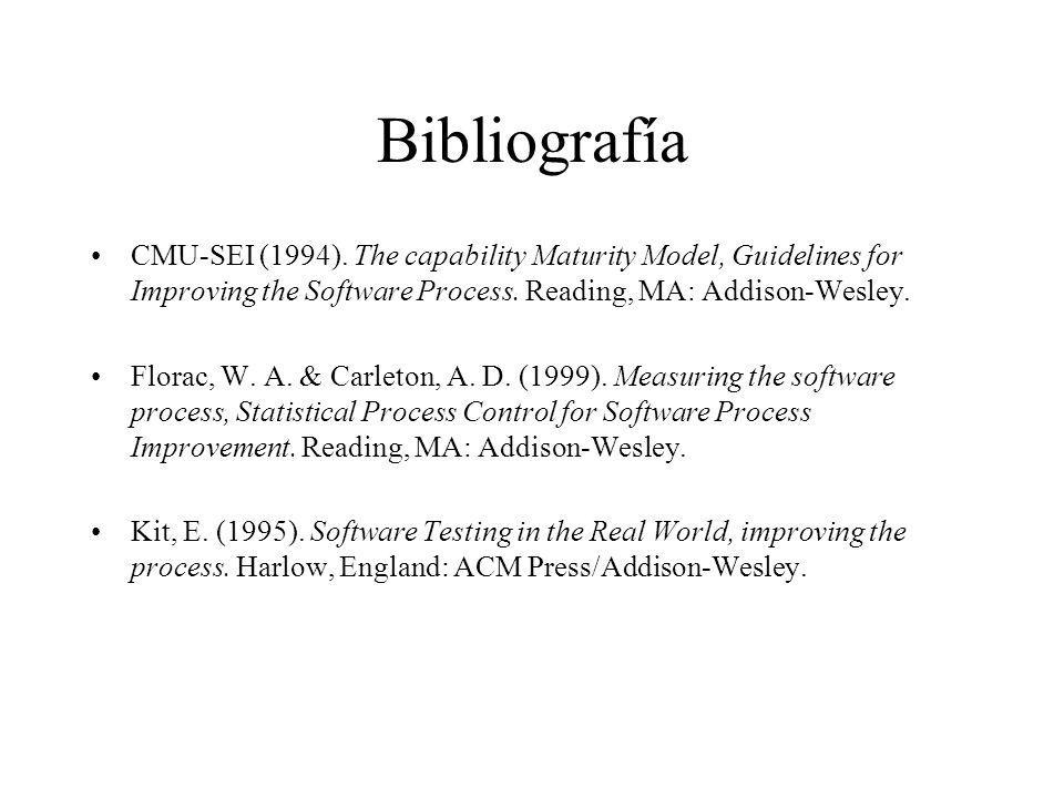 Bibliografía CMU-SEI (1994). The capability Maturity Model, Guidelines for Improving the Software Process. Reading, MA: Addison-Wesley. Florac, W. A.