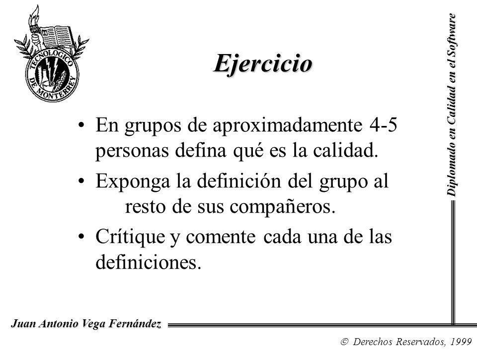Diplomado en Calidad en el Software Derechos Reservados, 1999 Juan Antonio Vega Fernández En grupos de aproximadamente 4-5 personas defina qué es la calidad.