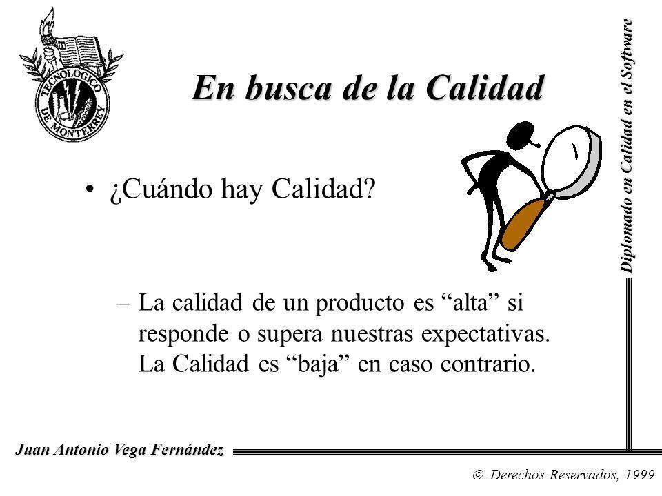 Diplomado en Calidad en el Software Derechos Reservados, 1999 Juan Antonio Vega Fernández Honda –Calidad a un precio medio –Buena ingeniería –Eficiente consumo de gasolina –Costo bajo de seguro –Costo bajo de mantenimiento Ejemplos de Calidad
