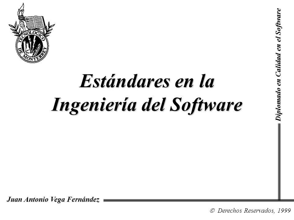 Diplomado en Calidad en el Software Derechos Reservados, 1999 Juan Antonio Vega Fernández Estándares en la Ingeniería del Software