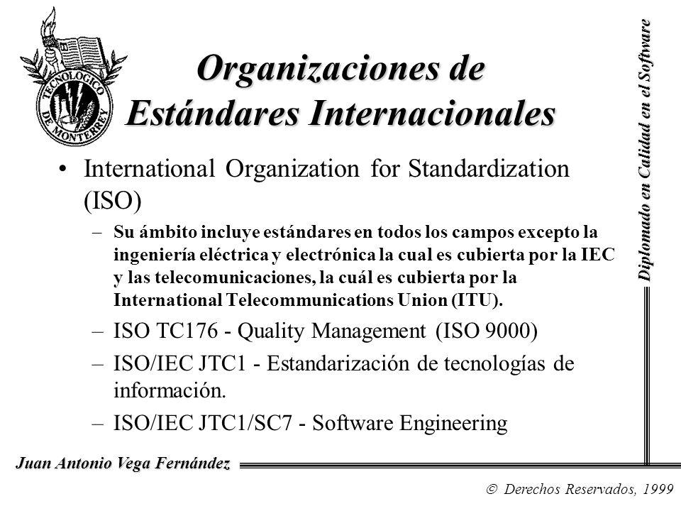Diplomado en Calidad en el Software Derechos Reservados, 1999 Juan Antonio Vega Fernández Organizaciones de Estándares Internacionales International Organization for Standardization (ISO) –Su ámbito incluye estándares en todos los campos excepto la ingeniería eléctrica y electrónica la cual es cubierta por la IEC y las telecomunicaciones, la cuál es cubierta por la International Telecommunications Union (ITU).