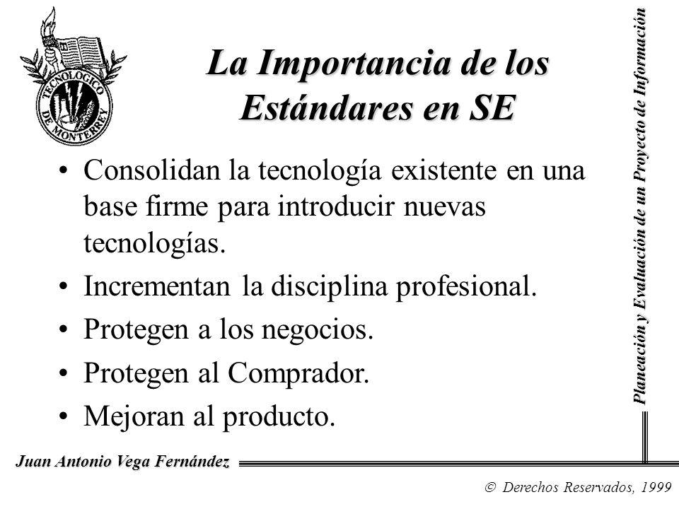 Derechos Reservados, 1999 Juan Antonio Vega Fernández Planeación y Evaluación de un Proyecto de Información La Importancia de los Estándares en SE Consolidan la tecnología existente en una base firme para introducir nuevas tecnologías.