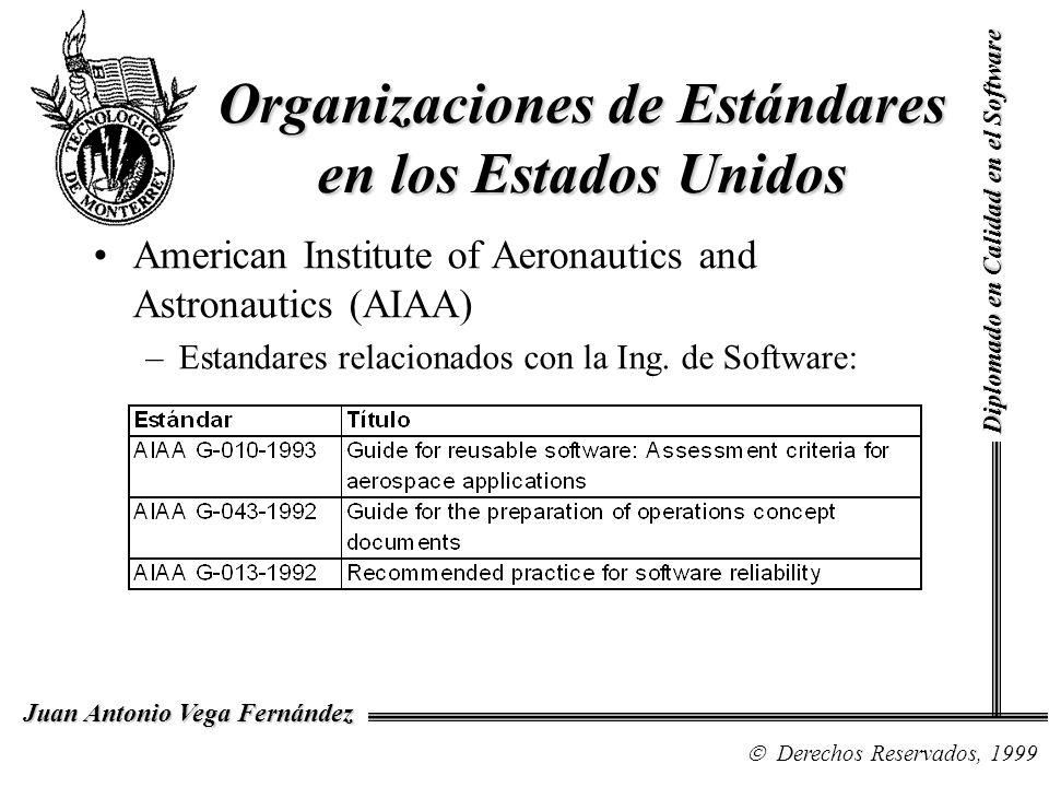 Diplomado en Calidad en el Software Derechos Reservados, 1999 Juan Antonio Vega Fernández Organizaciones de Estándares en los Estados Unidos Electronic Industries Association (EIA) –G-33, Data and Configuration Management Committee –G-34.