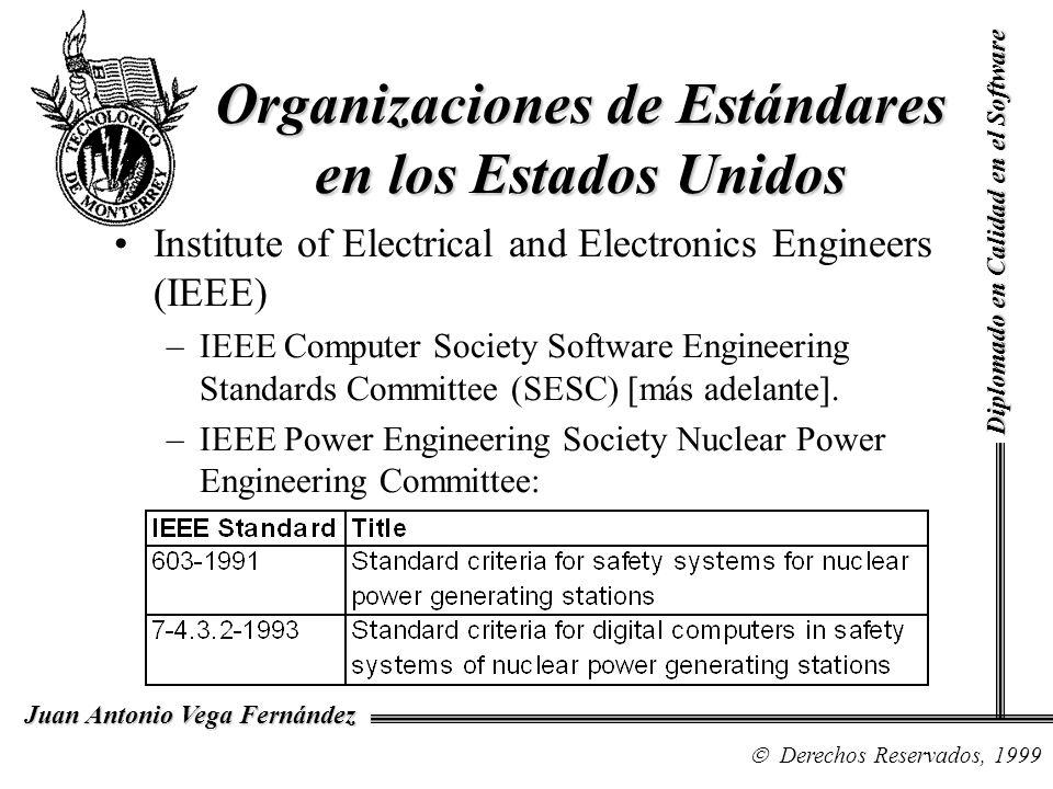 Diplomado en Calidad en el Software Derechos Reservados, 1999 Juan Antonio Vega Fernández Organizaciones de Estándares en los Estados Unidos Institute of Electrical and Electronics Engineers (IEEE) –IEEE Computer Society Software Engineering Standards Committee (SESC) [más adelante].