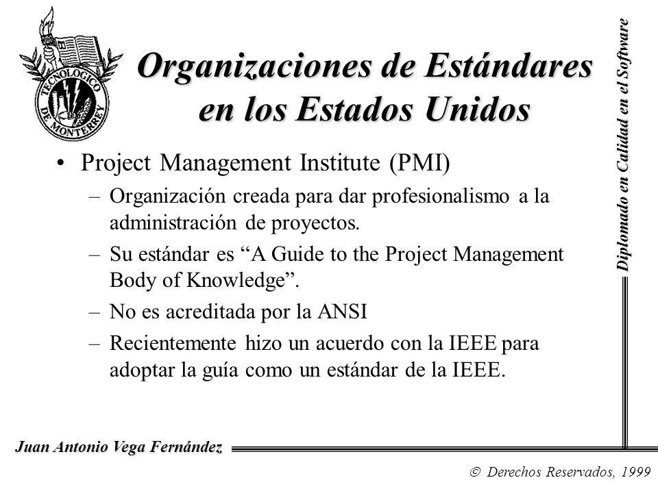 Diplomado en Calidad en el Software Derechos Reservados, 1999 Juan Antonio Vega Fernández Organizaciones de Estándares en los Estados Unidos Reuse Library Interoperability Group (RIG) –Fue formada para llegar a un consenso sobre la interoperabilidad de las librerías de reutilización del software.