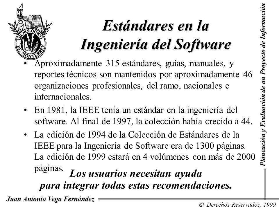 Derechos Reservados, 1999 Juan Antonio Vega Fernández Planeación y Evaluación de un Proyecto de Información Estándares en la Ingeniería del Software A