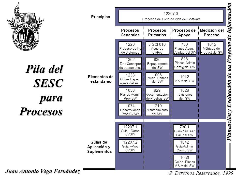 Juan Antonio Vega Fernández Derechos Reservados, 1999 Planeación y Evaluación de un Proyecto de Información Pila del SESC para Procesos Procesos Gener