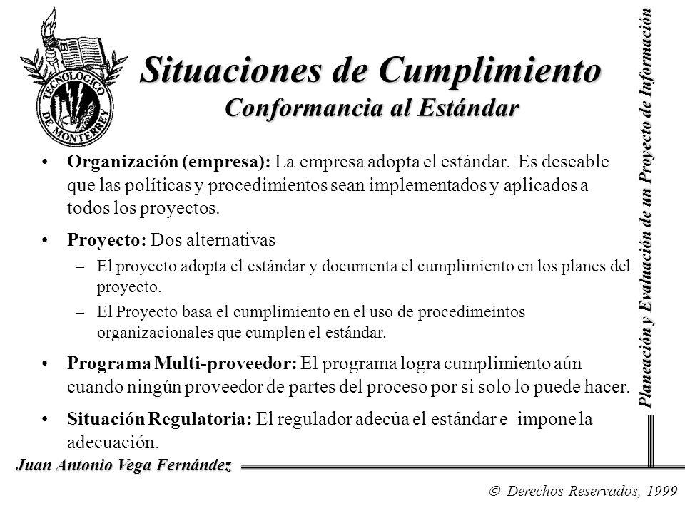 Derechos Reservados, 1999 Juan Antonio Vega Fernández Planeación y Evaluación de un Proyecto de Información Situaciones de Cumplimiento Conformancia a