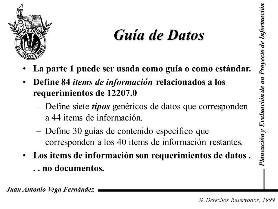 Derechos Reservados, 1999 Juan Antonio Vega Fernández Planeación y Evaluación de un Proyecto de Información Guía de Datos La parte 1 puede ser usada c