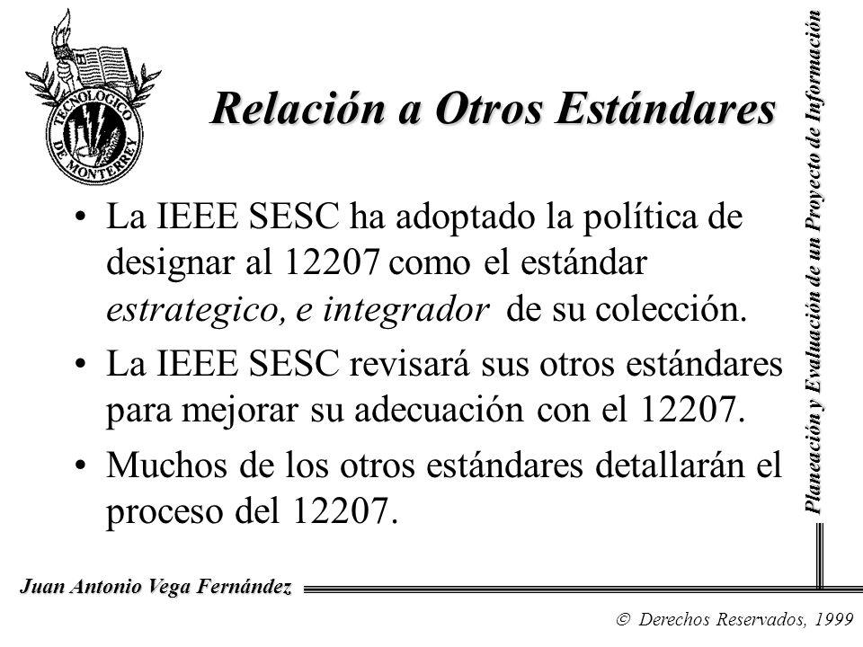 Derechos Reservados, 1999 Juan Antonio Vega Fernández Planeación y Evaluación de un Proyecto de Información Relación a Otros Estándares La IEEE SESC h