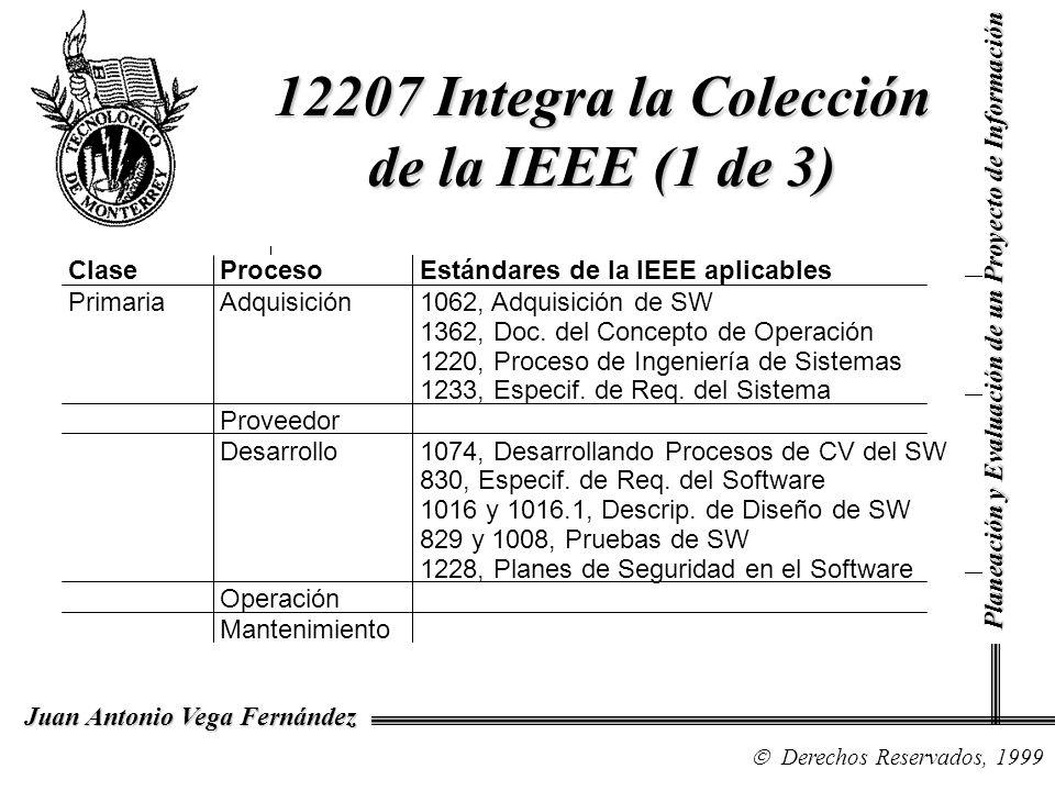 Derechos Reservados, 1999 Juan Antonio Vega Fernández Planeación y Evaluación de un Proyecto de Información 12207 Integra la Colección de la IEEE (1 d