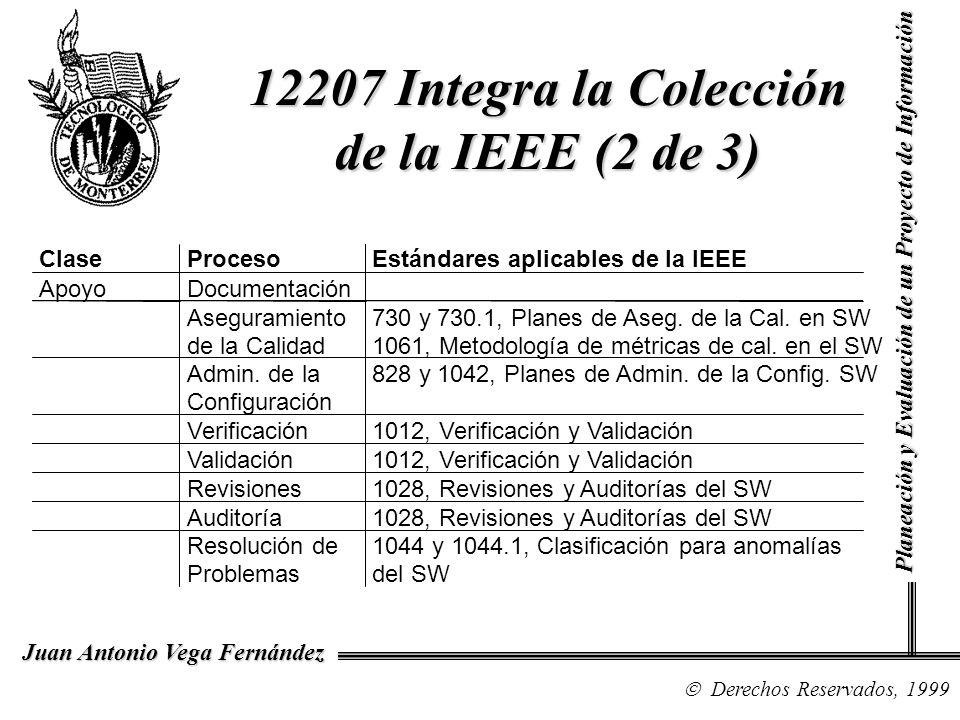 Derechos Reservados, 1999 Juan Antonio Vega Fernández Planeación y Evaluación de un Proyecto de Información 12207 Integra la Colección de la IEEE (2 d