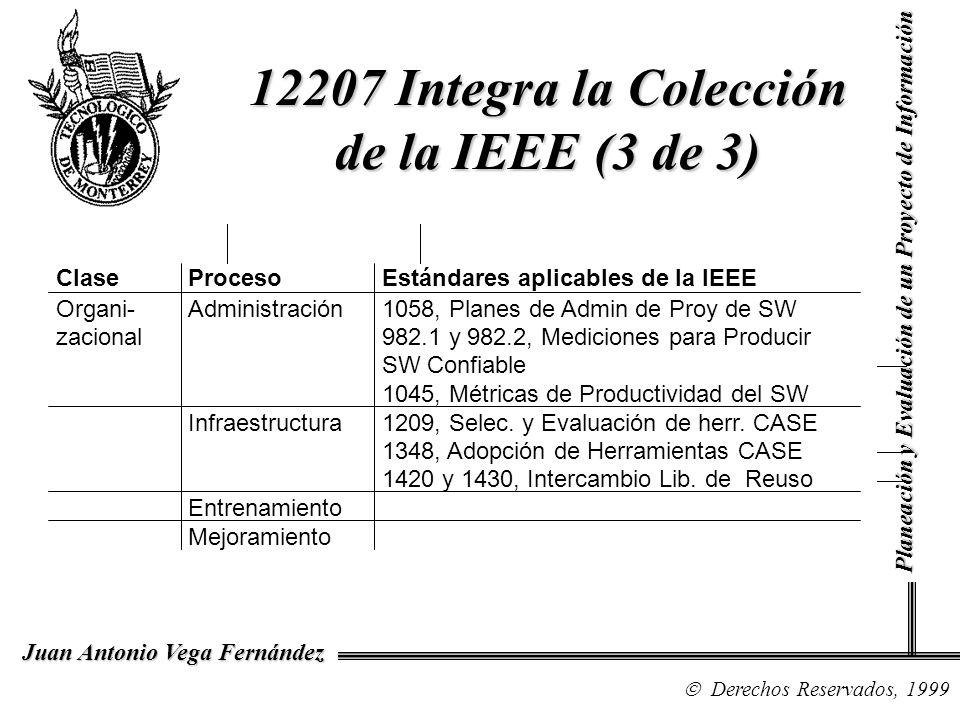 Derechos Reservados, 1999 Juan Antonio Vega Fernández Planeación y Evaluación de un Proyecto de Información 12207 Integra la Colección de la IEEE (3 d