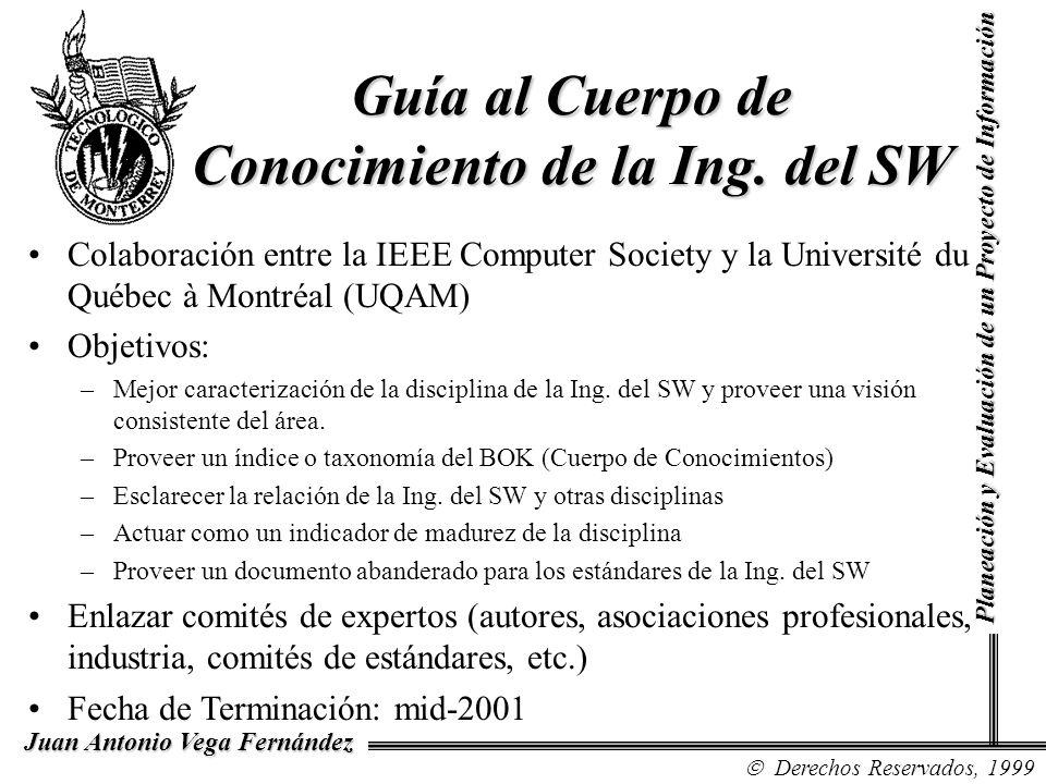 Derechos Reservados, 1999 Juan Antonio Vega Fernández Planeación y Evaluación de un Proyecto de Información Guía al Cuerpo de Conocimiento de la Ing.