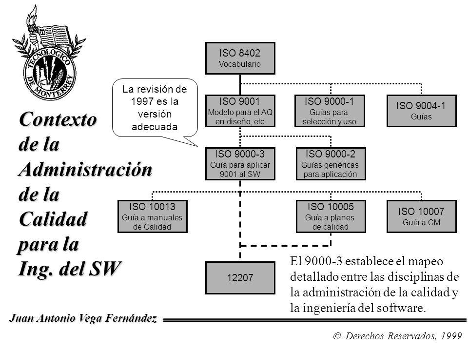 El 9000-3 establece el mapeo detallado entre las disciplinas de la administración de la calidad y la ingeniería del software. Derechos Reservados, 199