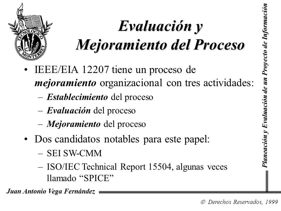 Derechos Reservados, 1999 Juan Antonio Vega Fernández Planeación y Evaluación de un Proyecto de Información Evaluación y Mejoramiento del Proceso IEEE