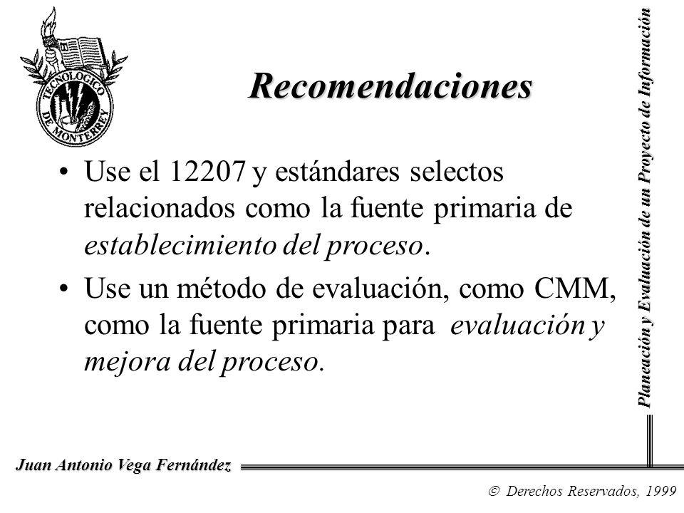 Derechos Reservados, 1999 Juan Antonio Vega Fernández Planeación y Evaluación de un Proyecto de Información Recomendaciones Use el 12207 y estándares