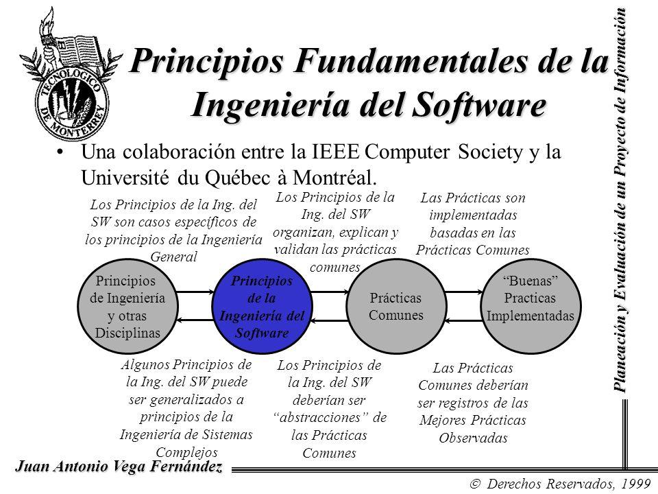 Derechos Reservados, 1999 Juan Antonio Vega Fernández Planeación y Evaluación de un Proyecto de Información Principios Fundamentales de la Ingeniería