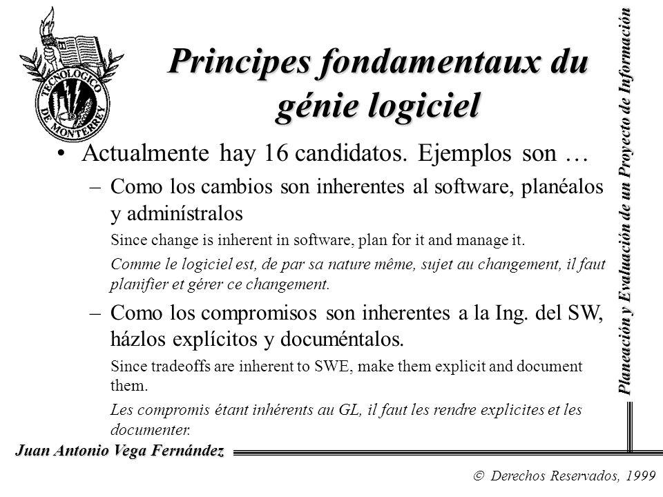 Derechos Reservados, 1999 Juan Antonio Vega Fernández Planeación y Evaluación de un Proyecto de Información Principes fondamentaux du génie logiciel A