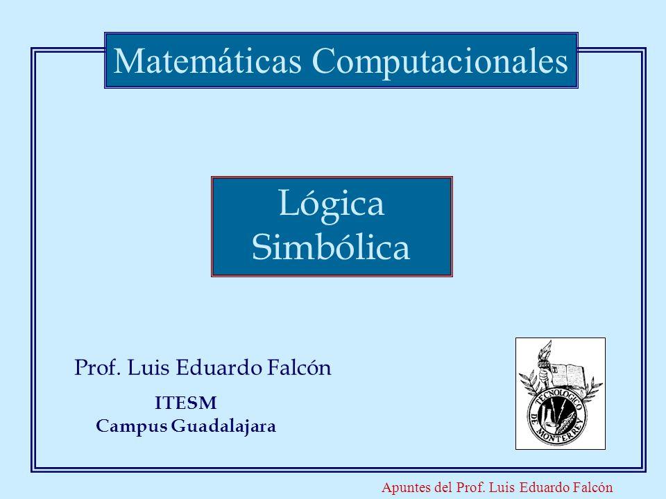 Apuntes del Prof. Luis Eduardo Falcón Prof. Luis Eduardo Falcón Matemáticas Computacionales ITESM Campus Guadalajara Lógica Simbólica