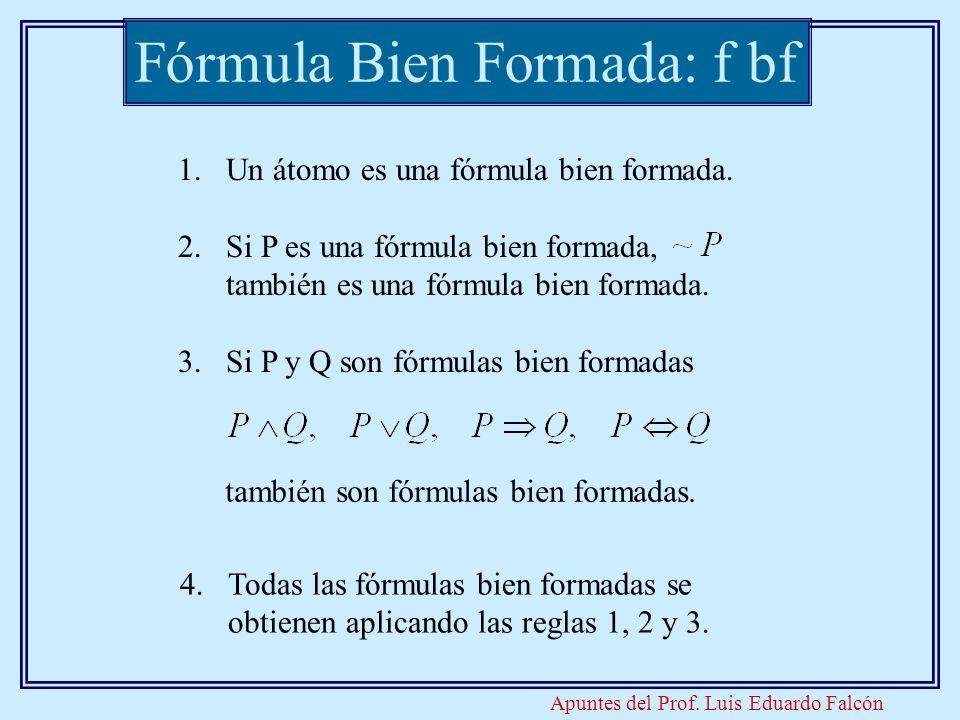 Apuntes del Prof. Luis Eduardo Falcón Fórmula Bien Formada: f bf 1.Un átomo es una fórmula bien formada. 2.Si P es una fórmula bien formada, también e