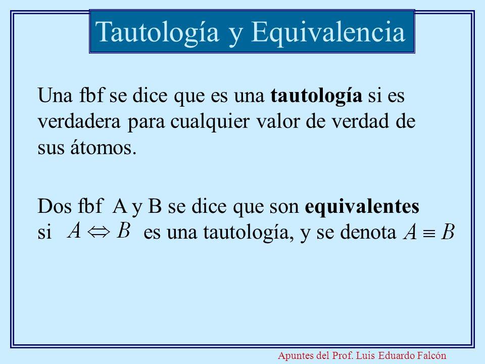 Apuntes del Prof. Luis Eduardo Falcón Tautología y Equivalencia Una fbf se dice que es una tautología si es verdadera para cualquier valor de verdad d