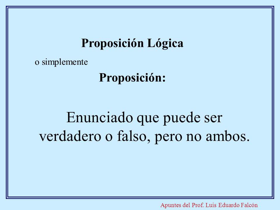 Apuntes del Prof. Luis Eduardo Falcón Proposición Lógica o simplemente Proposición: Enunciado que puede ser verdadero o falso, pero no ambos.