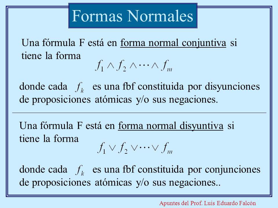 Apuntes del Prof. Luis Eduardo Falcón Formas Normales Una fórmula F está en forma normal conjuntiva si tiene la forma donde cada es una fbf constituid