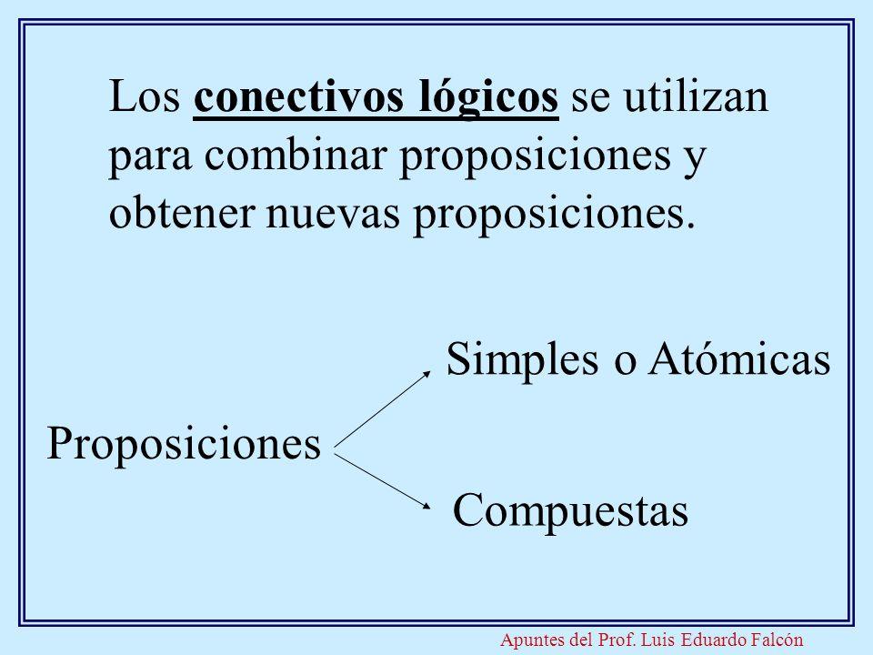 Apuntes del Prof. Luis Eduardo Falcón Los conectivos lógicos se utilizan para combinar proposiciones y obtener nuevas proposiciones. Proposiciones Sim