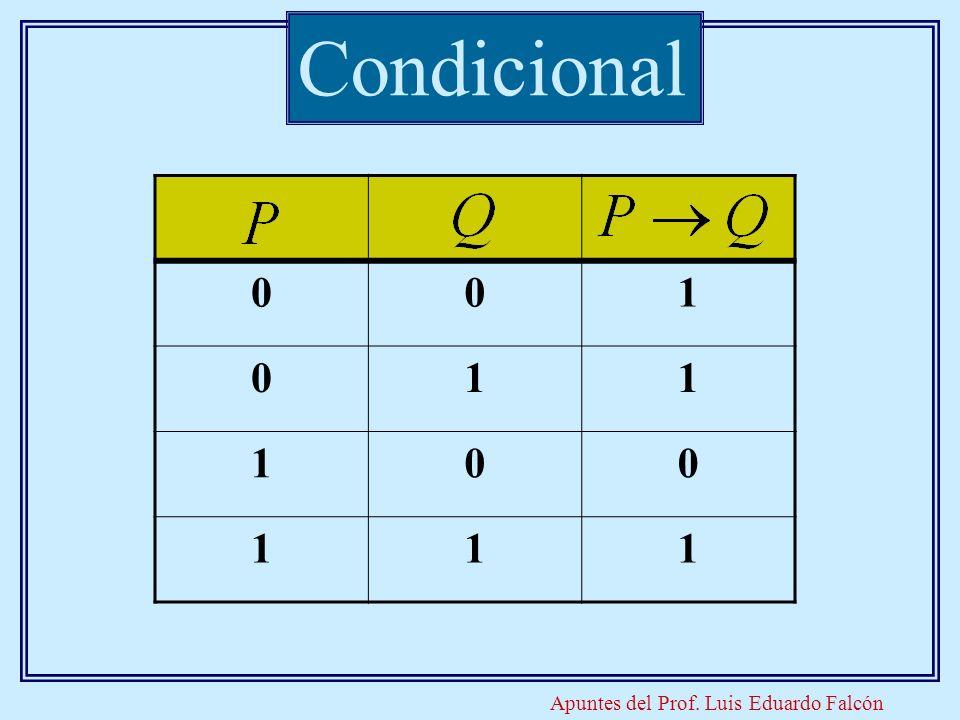 Apuntes del Prof. Luis Eduardo Falcón Condicional 001 011 100 111