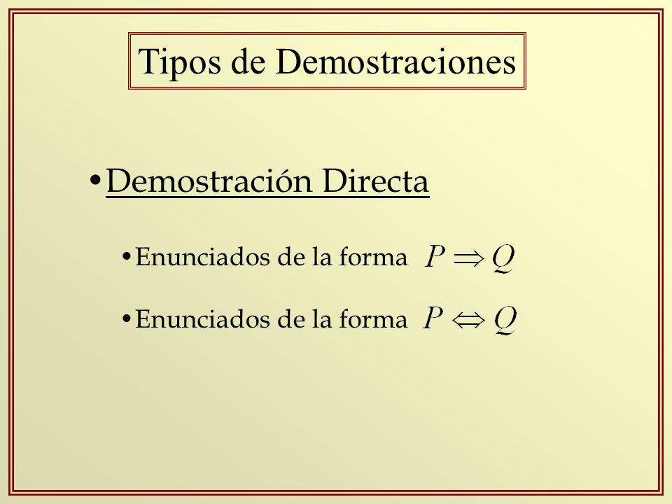 Tipos de Demostraciones Demostración Directa Enunciados de la forma