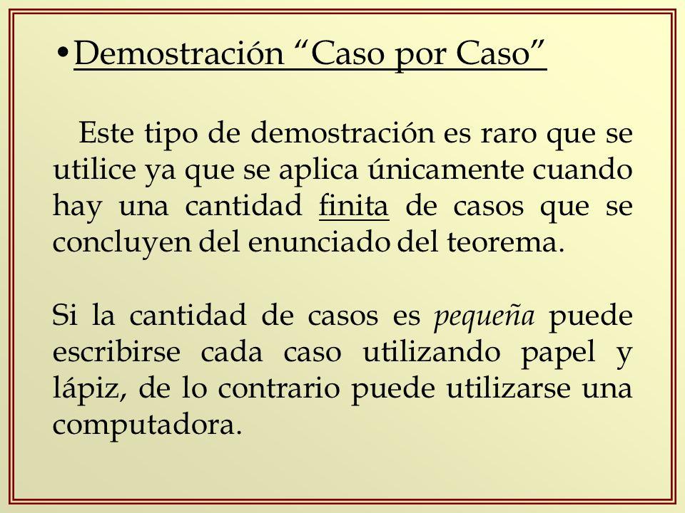 Demostración Caso por Caso Este tipo de demostración es raro que se utilice ya que se aplica únicamente cuando hay una cantidad finita de casos que se