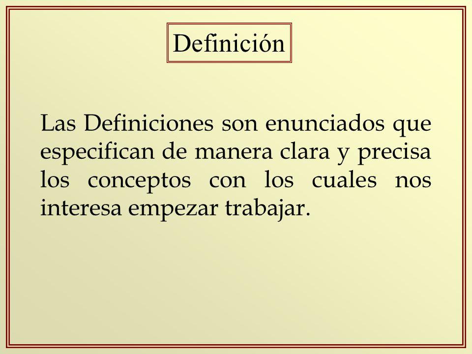 Las Definiciones son enunciados que especifican de manera clara y precisa los conceptos con los cuales nos interesa empezar trabajar. Definición
