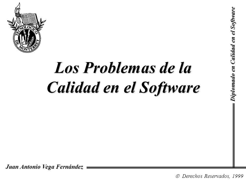 Diplomado en Calidad en el Software Derechos Reservados, 1999 Juan Antonio Vega Fernández Los Problemas de la Calidad en el Software