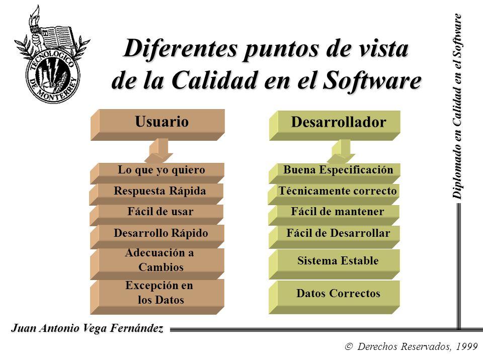 Diplomado en Calidad en el Software Derechos Reservados, 1999 Juan Antonio Vega Fernández Diferentes puntos de vista de la Calidad en el Software Usuario Lo que yo quiero Respuesta Rápida Fácil de usar Desarrollo Rápido Excepción en los Datos Adecuación a Cambios Desarrollador Buena Especificación Técnicamente correcto Fácil de mantener Fácil de Desarrollar Datos Correctos Sistema Estable