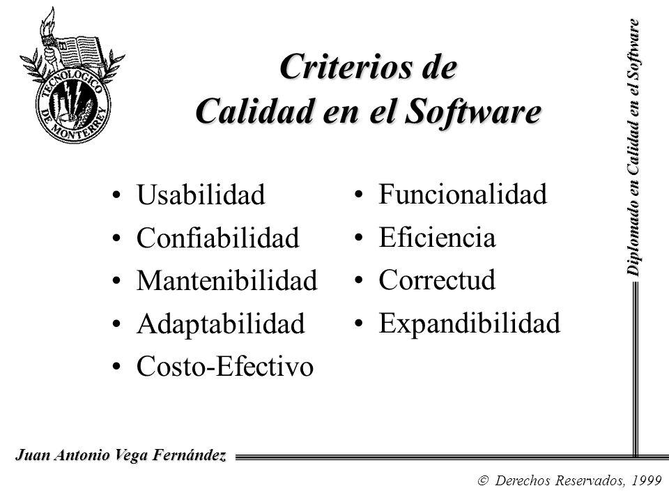 Diplomado en Calidad en el Software Derechos Reservados, 1999 Juan Antonio Vega Fernández Criterios de Calidad en el Software Usabilidad Confiabilidad Mantenibilidad Adaptabilidad Costo-Efectivo Funcionalidad Eficiencia Correctud Expandibilidad