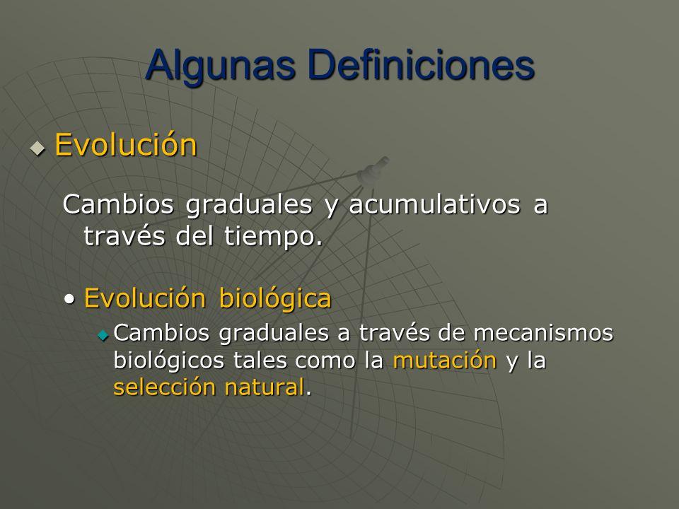 Algunas Definiciones Evolución Evolución Cambios graduales y acumulativos a través del tiempo. Evolución biológicaEvolución biológica Cambios graduale