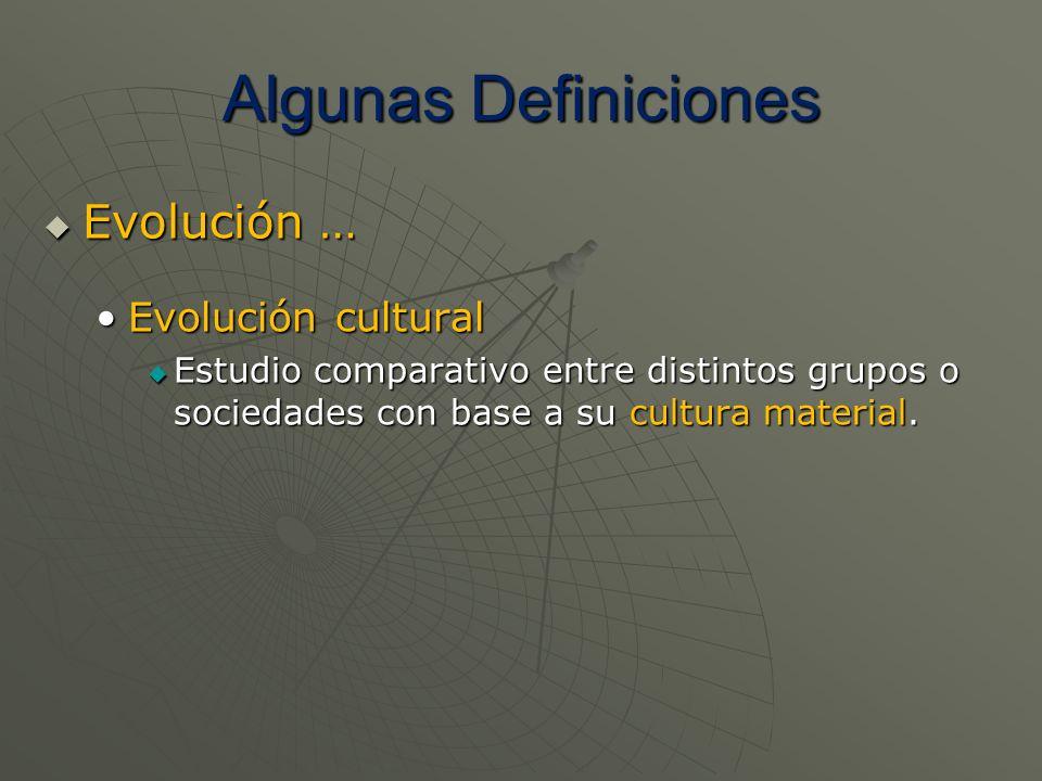 Algunas Definiciones Evolución … Evolución … Evolución culturalEvolución cultural Estudio comparativo entre distintos grupos o sociedades con base a s