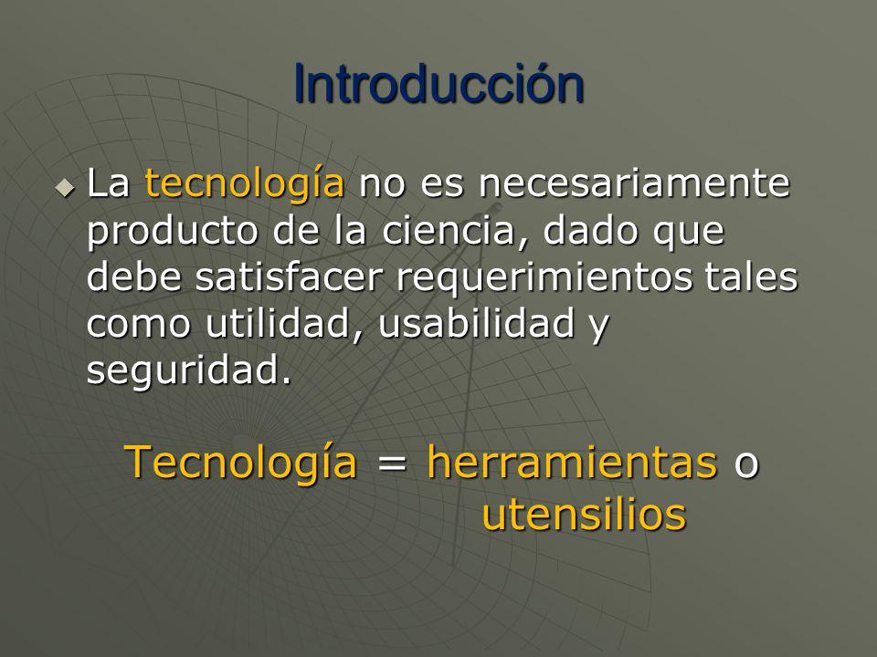 Introducción La tecnología no es necesariamente producto de la ciencia, dado que debe satisfacer requerimientos tales como utilidad, usabilidad y segu