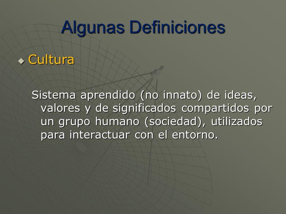 Algunas Definiciones Cultura Cultura Sistema aprendido (no innato) de ideas, valores y de significados compartidos por un grupo humano (sociedad), uti