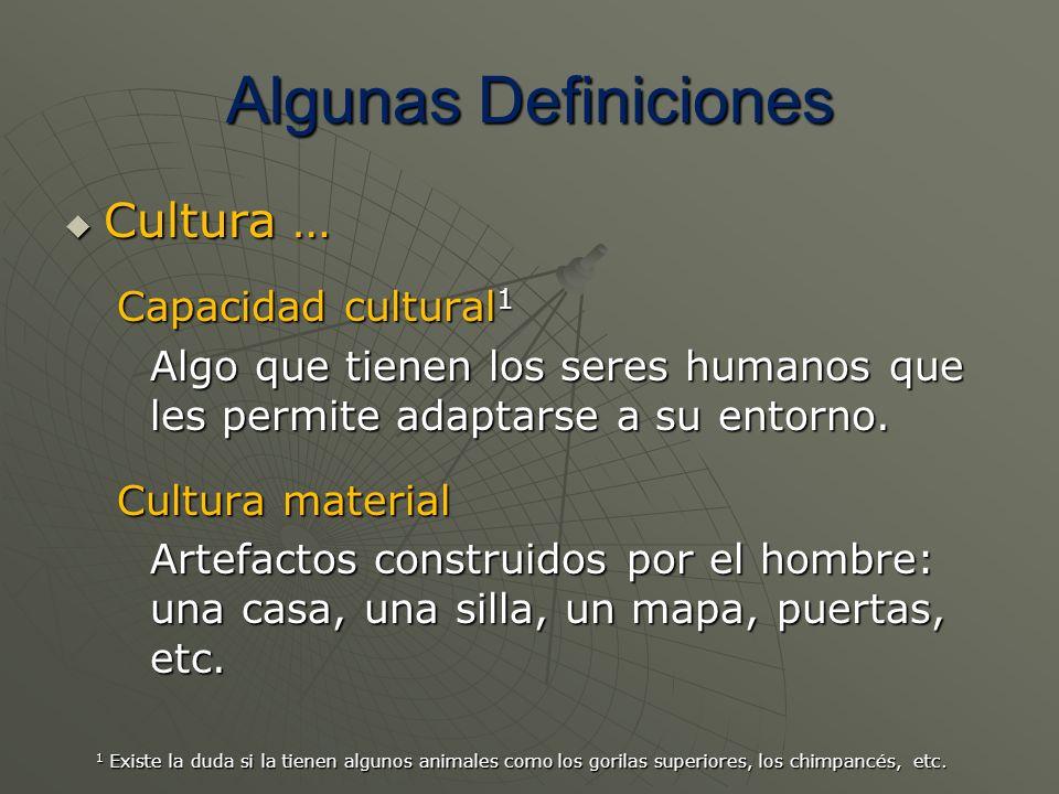 Algunas Definiciones Cultura … Cultura … Capacidad cultural 1 Algo que tienen los seres humanos que les permite adaptarse a su entorno. Cultura materi
