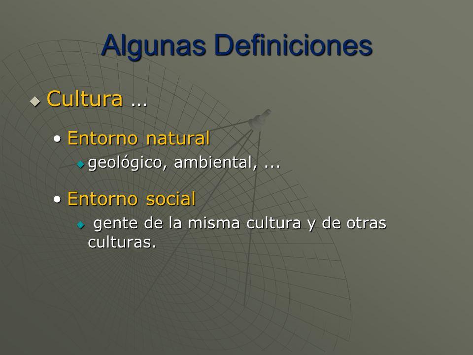 Algunas Definiciones Cultura … Cultura … Entorno naturalEntorno natural geológico, ambiental,... geológico, ambiental,... Entorno socialEntorno social