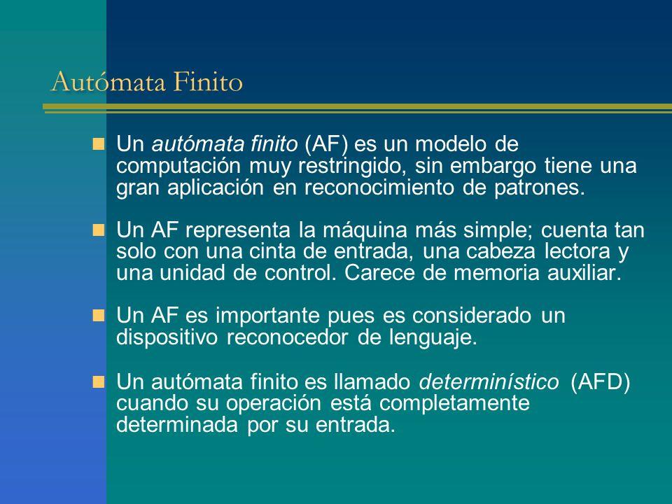 Autómata Finito Un autómata finito (AF) es un modelo de computación muy restringido, sin embargo tiene una gran aplicación en reconocimiento de patron