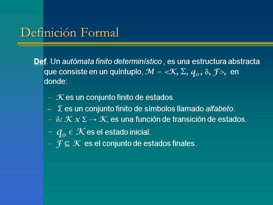 Definición Formal Def. Un autómata finito determinístico, es una estructura abstracta que consiste en un quíntuplo, M =, en donde: –K es un conjunto f