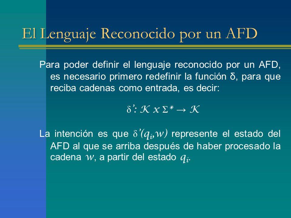 El Lenguaje Reconocido por un AFD Para poder definir el lenguaje reconocido por un AFD, es necesario primero redefinir la función δ, para que reciba c
