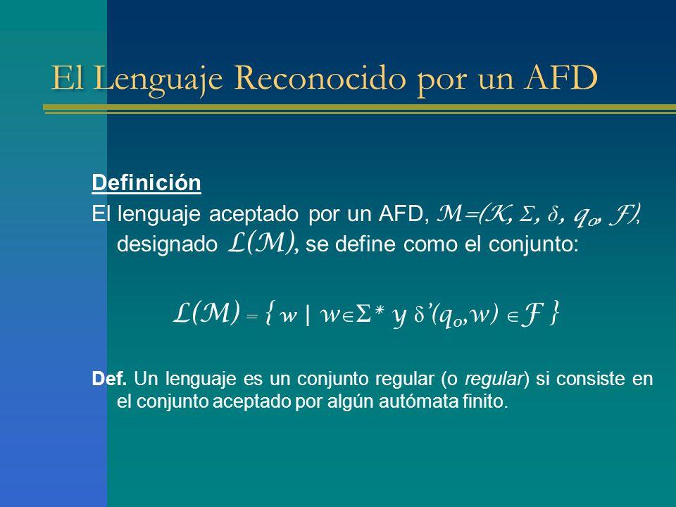 El Lenguaje Reconocido por un AFD Definición El lenguaje aceptado por un AFD, M=(K, Σ, δ, q 0, F), designado L(M), se define como el conjunto: L(M) =