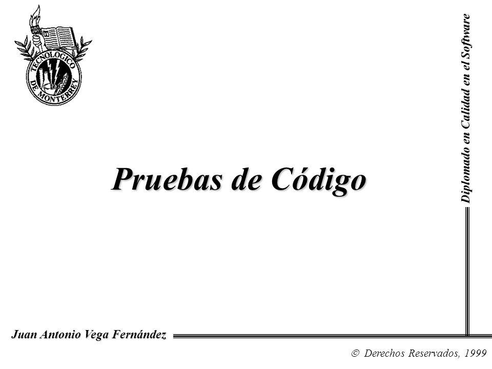 Diplomado en Calidad en el Software Derechos Reservados, 1999 Juan Antonio Vega Fernández Pruebas de Código