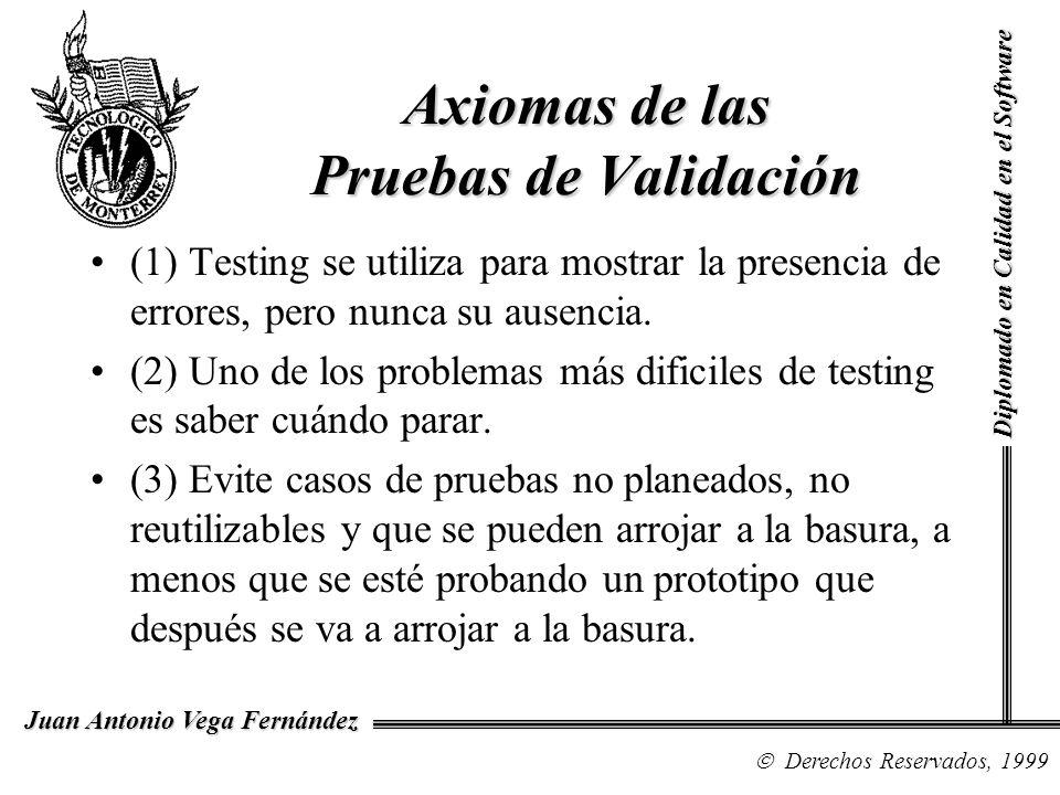 Diplomado en Calidad en el Software Derechos Reservados, 1999 Juan Antonio Vega Fernández (1) Testing se utiliza para mostrar la presencia de errores,
