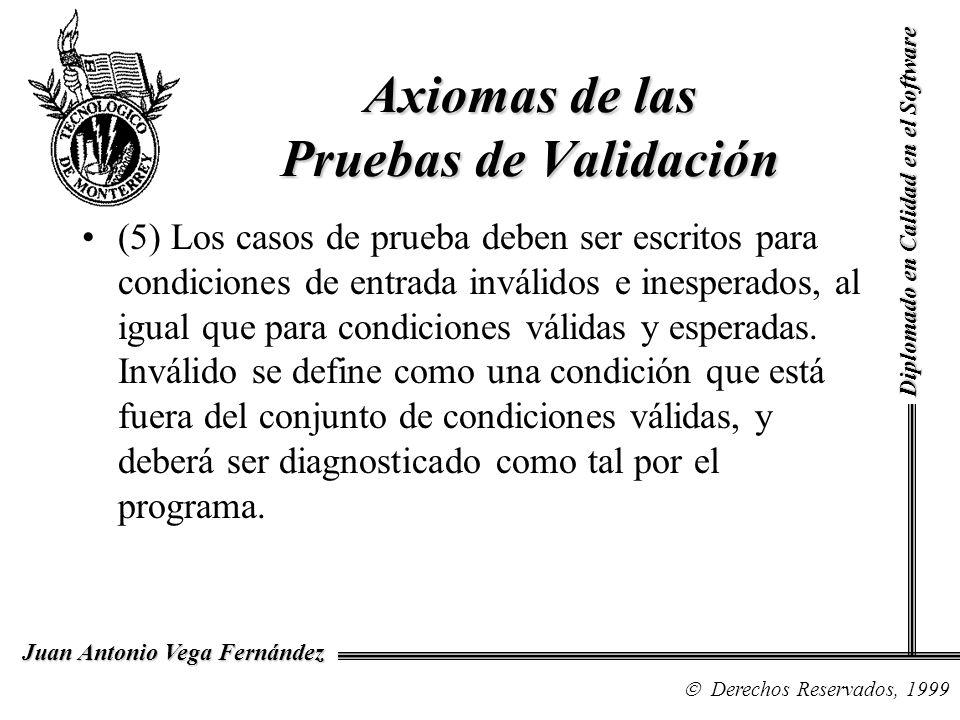 Diplomado en Calidad en el Software Derechos Reservados, 1999 Juan Antonio Vega Fernández (5) Los casos de prueba deben ser escritos para condiciones