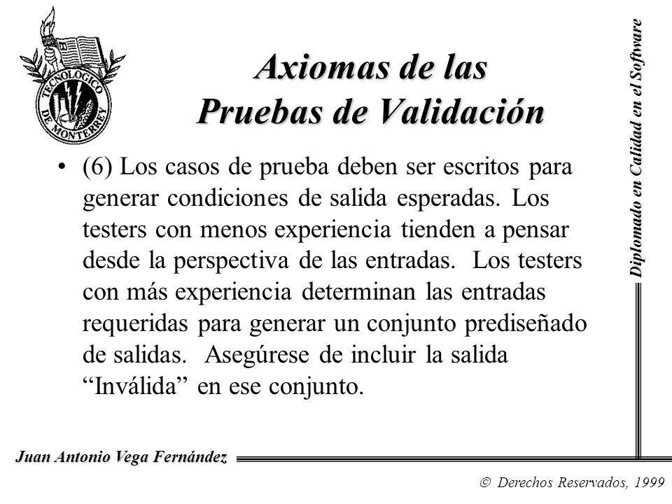 Diplomado en Calidad en el Software Derechos Reservados, 1999 Juan Antonio Vega Fernández (6) Los casos de prueba deben ser escritos para generar cond